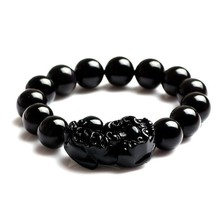 Free shipping 100% Natural Energy Stone/ Magic Health Bracelet /Black/ TV Report: promote blood circulation &remove blood stasis(China)