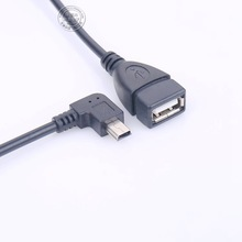 Right - angle elbow mini USB on the USB female transfer cable car OTG adapter mini USB to USB