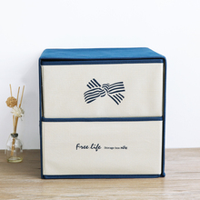 New Wrapped Storage Box Poly cute Creative double drawer clothing a box of multifunctional fabric underwear storage box(China)