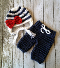 Free shipping Sailor style Baby Hat and Pants handmade crochet photography props newborn baby caps and pants(China)