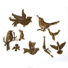 31Pcs Mixed Zinc Alloy Metal Charms Antique Bronze Plated Bird Pendants Jewelry Findings Fit Jewelry DIY 9 Styles