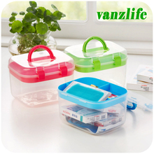 vanzlife home transparent small portable drug medicine storage box(China)
