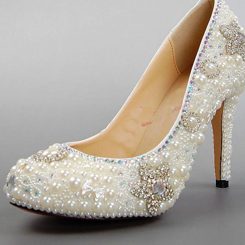 Luxury Handmade White Pearl Wedding Dress Shoes Rhinestone Bridal Shoes Lady High Heel Formal Dress Shoes Honeymoon Shoes<br><br>Aliexpress