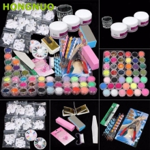 37PCS Nail art set Professional Acrylic Glitter Color Powder French Nail Art Deco Tips Set Dropship U0310