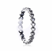 2017 Spring 925 Sterling Silver Linked Love Openwork Heart Stackable Finger Ring for Women Engagement Wedding Jewelry