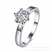 Hot Sell New arrival wedding rings for women Six claw silver plated ring Austria zircon engagement ring Christmas gift