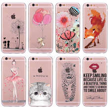 Top Detailed Popular Fox Cheetah Painting Phone Cover Case for iPhone 5 5s SE 6 6s TPU Silicone Soft Case Transparent Cover Skin