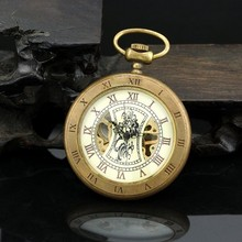 Luxury Vintage Golden Open Face Copper Case Men Mechanical Pocket Watch With Chain High Quality Fob Watches