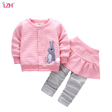 LZH Newborn Clothes 2017 Autumn Winter Baby Girls Clothes Set Rabbit Coat+Pants 2pcs Set Baby Outfits Suit Infant Girls Clothing(China)