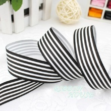 (5 yards/lot) 1'' (25mm) Black and White Stripe grosgrain ribbon printed gift wrap ribbon decoration ribbons