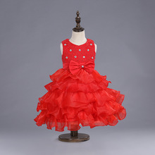 Hign Quality Girl Dress 2016 Sleeveless Kid Dresses Girls Clothes Party Princess Vestidos 6 7 8 Years birthday Dress Christmas(China)