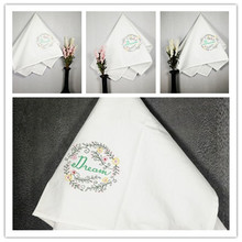 6pcs/lot Household Decorative White Floral Handkerchief Hotel Square Napkin Restaurant Dinner Table Folding Cloth 70*45cm(China)