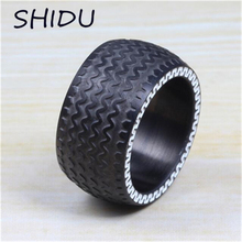 13mm Cool Men's Punk Men Black Tire Ring Stainless Steel Racing Jewelry Men Large Heavy Ring Wedding Band Bijoux Men Jewelry(China)