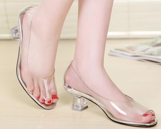 High Quality all Transparent Peep Toe Sandals Women Shoes  2017 New High-heeled Comfortable Crystal Lady Shoes Size 34-40<br><br>Aliexpress