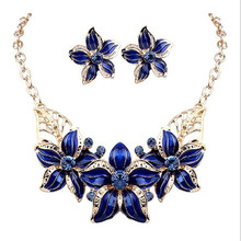 New Jewelry Sets Necklace Earrings Crystal Enamel Flower African Maxi Statement Jewelry Wedding Bridal Pendant Dress Accessories(China)