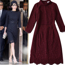 Rebantwa Top Quality Elegant Dress Women Embroidery Lace Dresses Overlay Long Sleeve Celebrity Wear Princess Sexy Dresses M-XXL