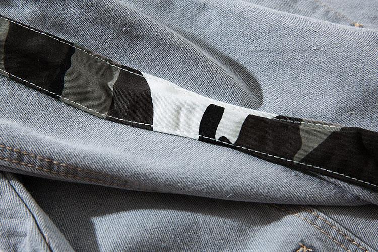 Camouflage Patchwork Ripped Denim Jacket 4