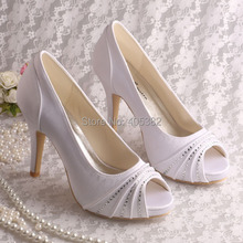 (20 Colors)Hot Selling Super High Heel Pump Shoes Bridal Wedding White Satin Open Toe Size 9