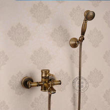 Bamboo style hot sell Antique Brass exposed Shower Faucet Set Exposed bath Shower Set Bathroom Wall Mount Shower Valve Set(China)
