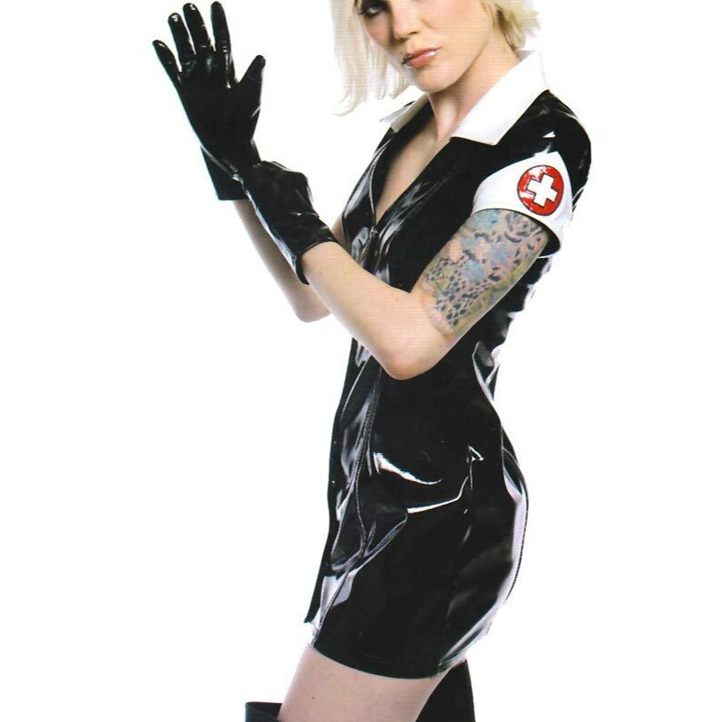 Black PVC Dress Vinyl Latex Sexy Catsuit Costume PU Leather Lingerie Catwoman Bondage Clubwear Clothes Halloween Nurse Cosplay