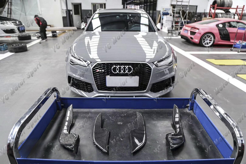 2013-2016 Audi A6 S6 RS6 RS6-Conversion Front Bumper ABT Style Canard CF (57)
