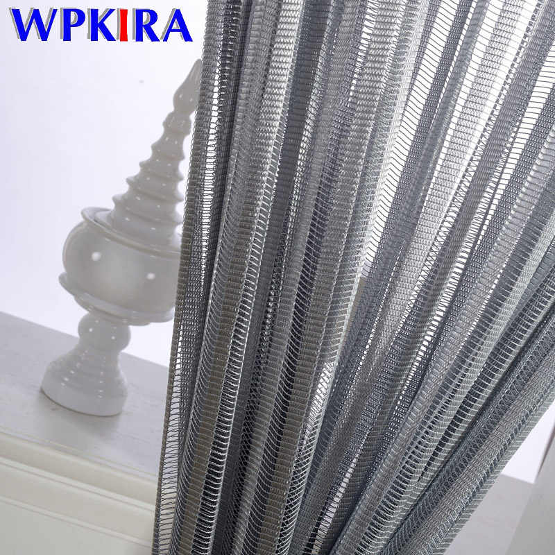 Modern Simple Generous Mesh Curtain Fabrics Grey Stripe Tulle for Living Room Kitchen Balcony Sheer Curtains Customized WP097-30
