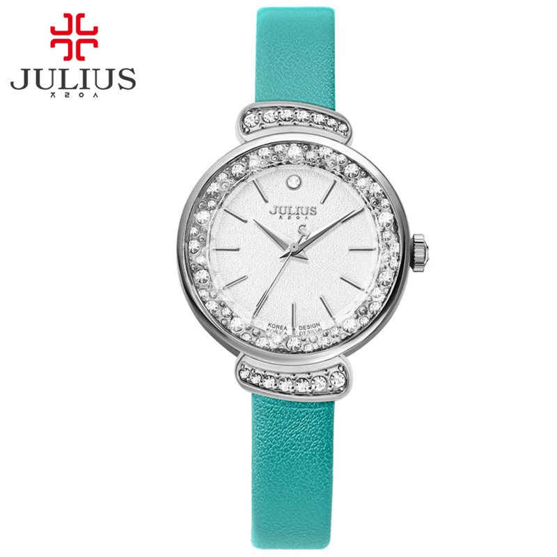 JULIUS Womens Fashion Dress Watch Rhinestone Whatches Mint Green Pink Leather Strap Slim Watch for Small Wrist Relogio JA-866<br>