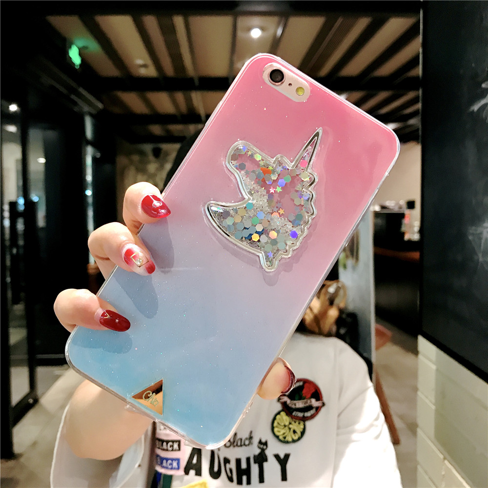 XINKSD For iphone 6 s 6s Gradient Luxury diamond unicorn phone case On iphone 7 8 x xr xs max Ultra-thin soft tpu liquid funda (2)
