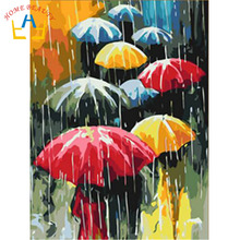 HOME BEAUTY diy oil painting by numbers wall decor picture on canvas drawing coloring by number rain umbrella oil paint J020