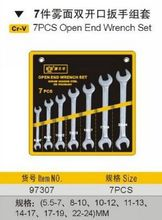BESTIR taiwan high quality cloudy surface Cr-V DIN standard industrial 7pcs metric Double open end wrench set NO.97307 freeship
