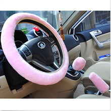3Pcs Pink Soft Velvet Steering Wheel Cover Handbrake Car Accessories Set Gifts