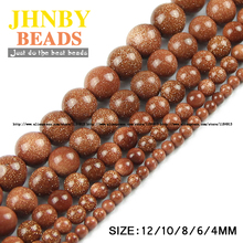 JHNBY Top quality Natural Stone Golden sand stone beads Round Loose bead ball 4/6/8/10/12MM Handmade Jewelry bracelet making DIY