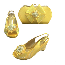 NJL001 Nice Design Yellow Italian Shoes With Matching Bags Latest Rhinestone African Women Shoes and Bags Set For Sale