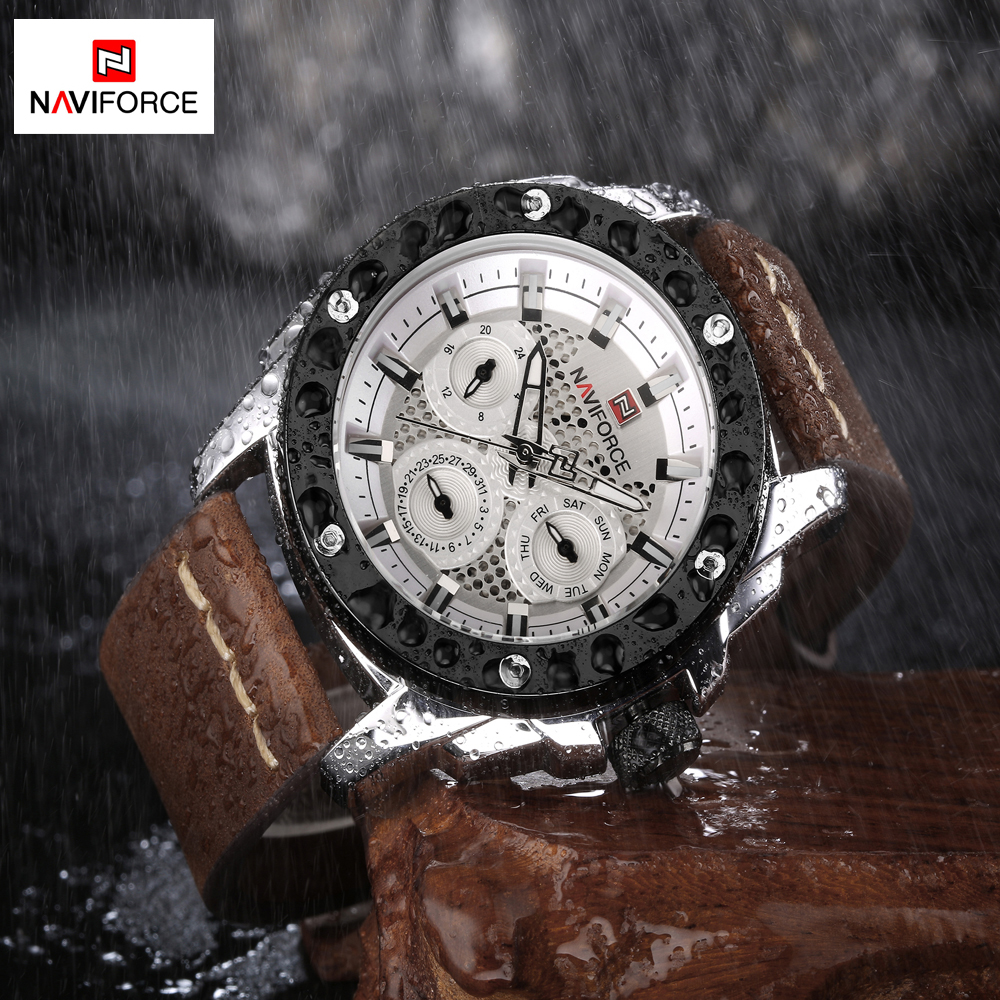 NAVIFORCE Quartz Mens Watches Luxury Famous Leather Men Sports Watches Luminous Analog Date Week Clock Men Casual Wristwatches<br>