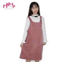 Spring Korean Fashion Loose Women Strap Corduroy Sleeveless Pink Dress Autumn Vintage Cute Casual Female Overalls Dresses(China)