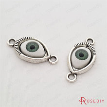 (29745)10PCS 26*12MM Antique Silver Plated Zinc Alloy and Acrylic Eyes Bracelet Charms Diy Jewelry Findings Jewelry Accessories(China)