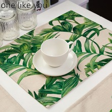 ONE LIKE YOU Soft Cotton Linen Tableware Mat Table Runner Green Leaves Printied Tablecloth Desk Cover
