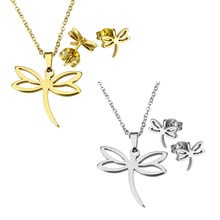 Gold-color Chain Choker Necklace Stainless Steel Jewelry Sets Cute Dragonfly Animal Stud Earring Pendant Charms Necklaces Woman
