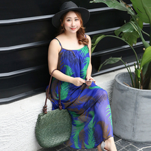 New fashion sexy fat mm Bohemia Chiffon Dress Plus fat fat sister Travel Holiday Beach belt 222