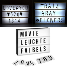 A4 Size Cinematic Light Box with 180 DIY Cards Combination of Letters Numbers Symbols Powered by USB Valentine Gift