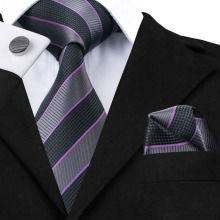 SN-591 Black Dimgray Darkviolet Striped Tie Hanky Cufflinks Sets Men's 100% Silk Ties for men Formal Wedding Party Groom(China)