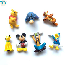 OHMETOY 7PCS Mickey Mouse Clubhouse Baby Dolls Goofy Dog Tigger Donald Duck Anime Toy Action Figure Kids Gift Cake Topper