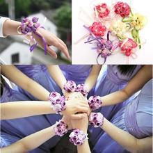 New Beautiful Bridal Bridesmaid Corsage Ribbon Wrist Flowers Wedding Supplies Bracelet Decor Petals Garlands