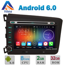 "8"" Android 6.0.1 Octa Core Cortex A53 2GB RAM 32GB ROM Car DVD Multimedia Player Radio Stereo GPS For Honda CIVIC 2012 2013 DAB+(China)"