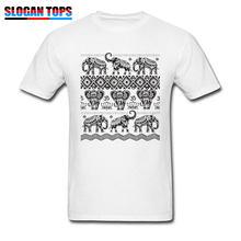 27f47469 Elephant Dance T-shirt Men Om T Shirt Tribal Art Design Tops Tattoo Print  Tees Mens Cotton Black White Clothes Plus Size Tshirt