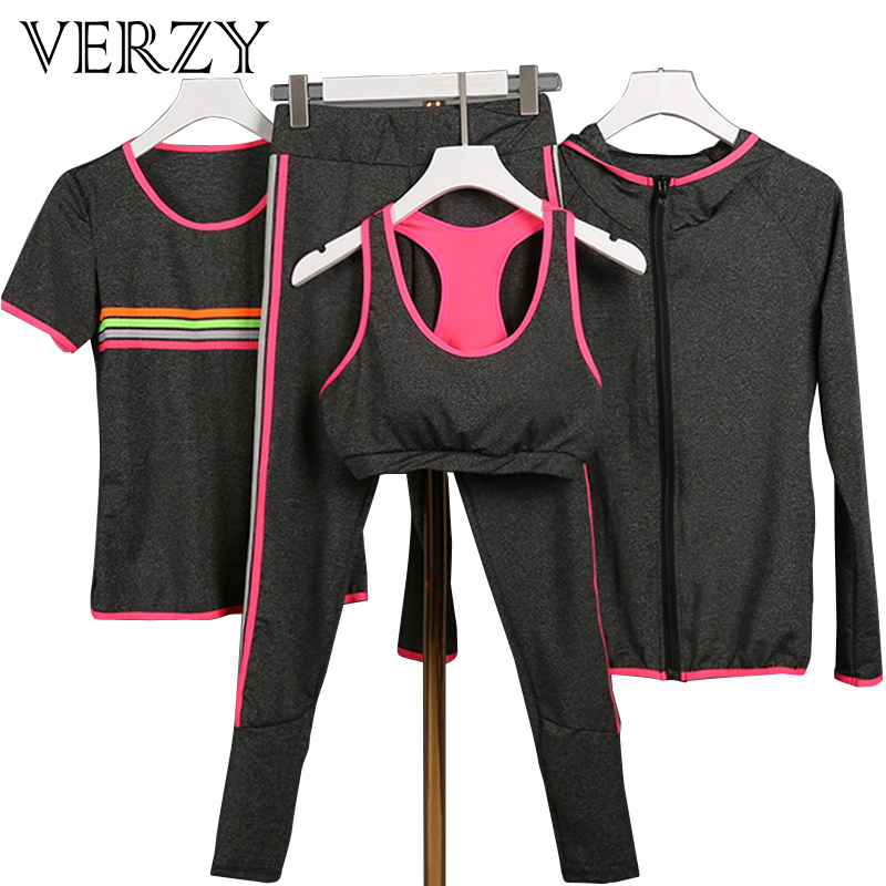 Verzy 2017 Yoga suit Women Fitness Sportswear Running Exercise Tracksuits for women Yoga Sets 3 colors Breathable Sports suit<br>