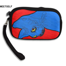 MEETSELF New Cool Fashion Creative 3D Print Blue Cat Womens Wallet Girls Cute Coin Purse Small Storage Bags For Key Card(China)