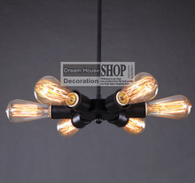 Iron UL/CE 6 arm edison bulb Pendant Chandelier Modern Vintage Loft Bar Restaurant Bedroom E27 Art Pendant industrial lamp
