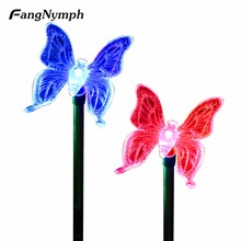FangNymph Solar Lamps 2pcs Butterfly Shape Color-Changing Solar Lights Garden Ground Outdoor Stake Solar Night Lights(China)