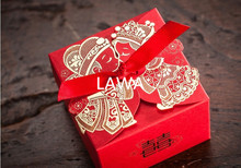 50 pieces Cheap Wedding Favor Boxeswith Ribbon Red Chinese Wedding Candy Box Casamento Wedding Favors And Gifts Boxes